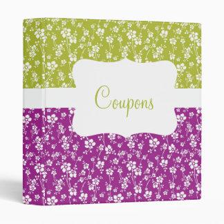 Purple/Lime Floral Coupon organizer 3 Ring Binder