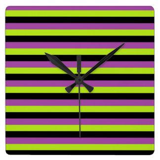 Purple Lime Green and Black Stripes Clocks