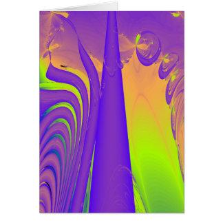 Purple, Lime Green and Orange Fractal Design. Card