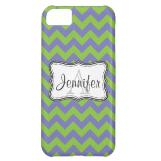 Purple & Lime Green Chevron Monogram iPhone 5 iPhone 5C Cases
