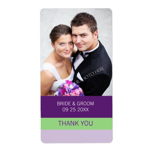 Purple Lime Photo Wedding Labels
