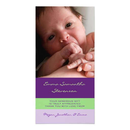 Purple Lime Thank You Baby Shower Photo Cards