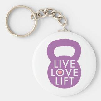 """Purple """"Live Love Lift"""" Basic Round Button Keychain"""