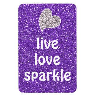 Purple Live Love Sparkle Quote Magnet