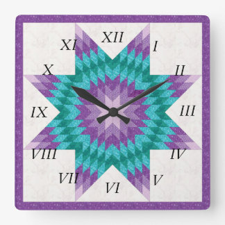 Purple Lone Star Quilt Design Square Wall Clock