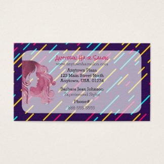 Purple Long Haired Woman Hair Stylist Hair Salon Business Card