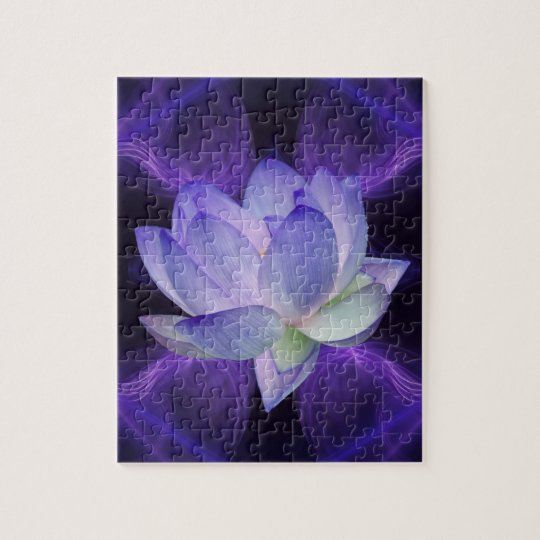 Purple Lotus and sacred geometry Jigsaw Puzzle