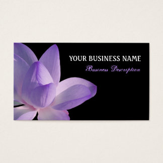Purple Lotus Bloom on Black Business Card