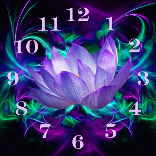 Lotus flower meaning art wall dcor zazzle purple lotus flower and its meaning round clock mightylinksfo