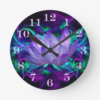 Purple lotus flower and its meaning round clock
