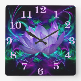 Purple lotus flower and its meaning square wall clock