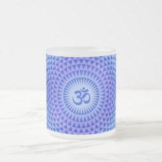 Purple Lotus flower meditation wheel OM 10 Oz Frosted Glass Coffee Mug