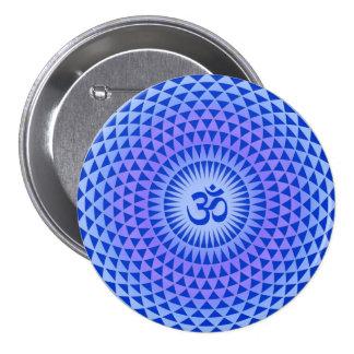 Purple Lotus flower meditation wheel OM 3 Inch Round Button
