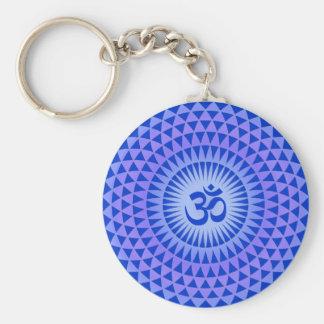 Purple Lotus flower meditation wheel OM Basic Round Button Keychain