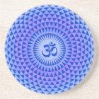 Purple Lotus flower meditation wheel OM Coaster