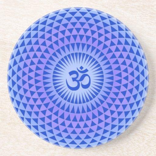 Purple Lotus flower meditation wheel OM Beverage Coasters