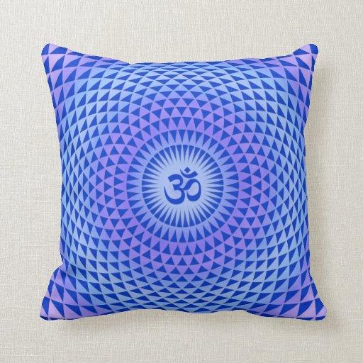 Purple Lotus flower meditation wheel OM Throw Pillows