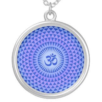 Purple Lotus flower meditation wheel OM Round Pendant Necklace