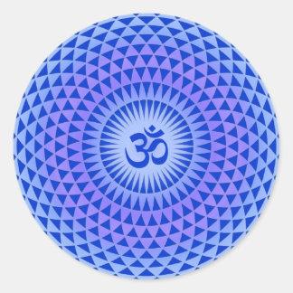 Purple Lotus flower meditation wheel OM Round Sticker