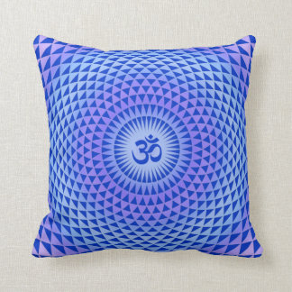 Purple Lotus flower meditation wheel OM Throw Pillow