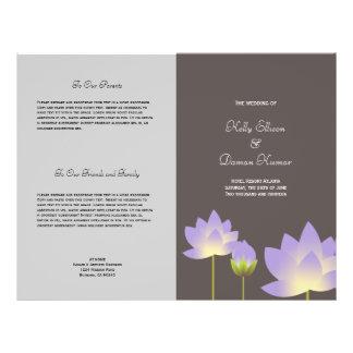 Purple lotus flower modern grey wedding program flyer