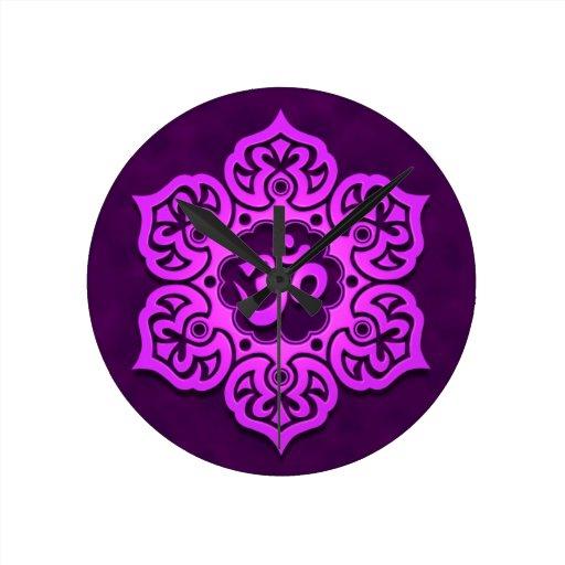 Purple Lotus Flower Om Wall Clocks