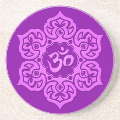 Purple Lotus Flower Om Drink Coasters