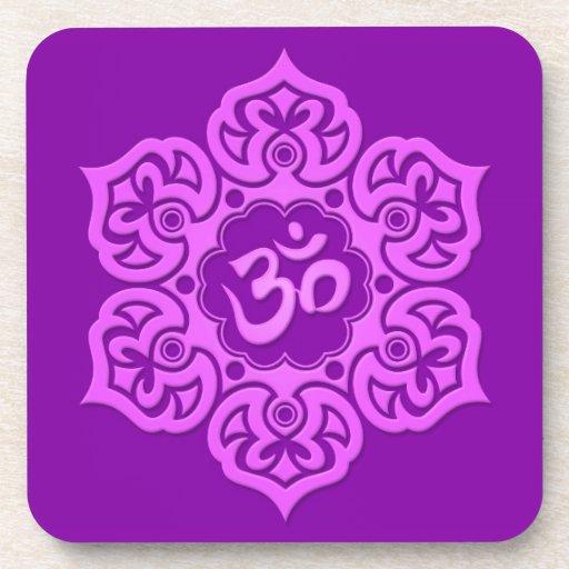 Purple Lotus Flower Om Drink Coaster