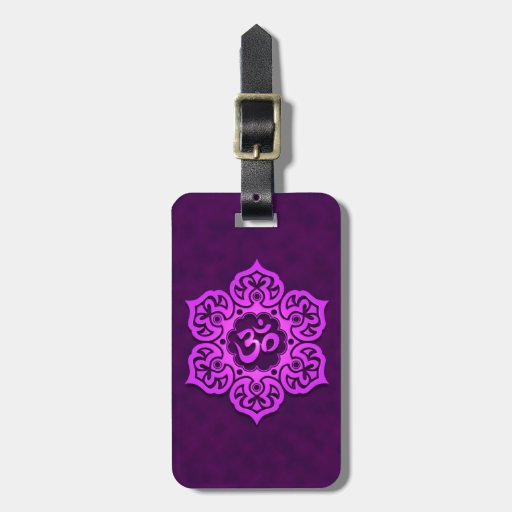 Purple Lotus Flower Om Tags For Luggage