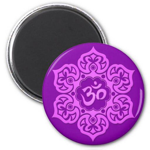 Purple Lotus Flower Om Fridge Magnets