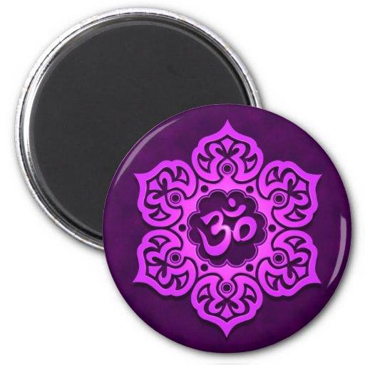 Purple Lotus Flower Om Refrigerator Magnets