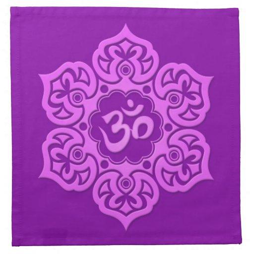 Purple Lotus Flower Om Napkins
