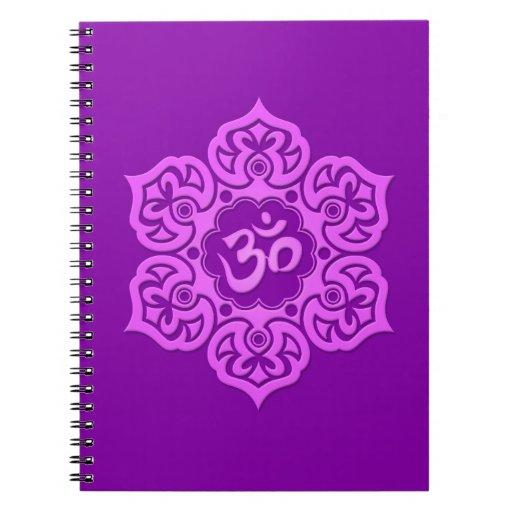 Purple Lotus Flower Om Spiral Note Books