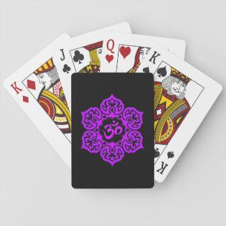 Purple Lotus Flower Om on Black Playing Cards