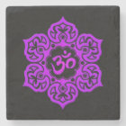 Purple Lotus Flower Om on Black Stone Coaster