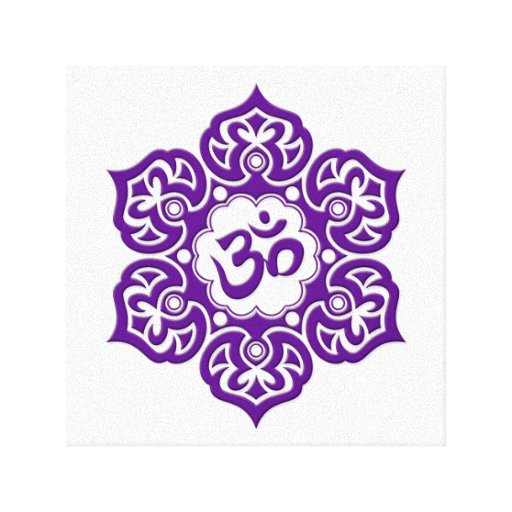 Purple Lotus Flower Om on White Gallery Wrap Canvas