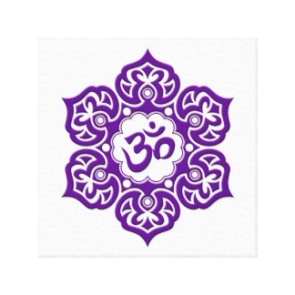 Purple Lotus Flower Om on White Gallery Wrapped Canvas