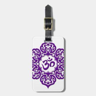 Purple Lotus Flower Om on White Travel Bag Tags