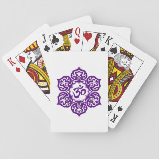 Purple Lotus Flower Om on White Playing Cards