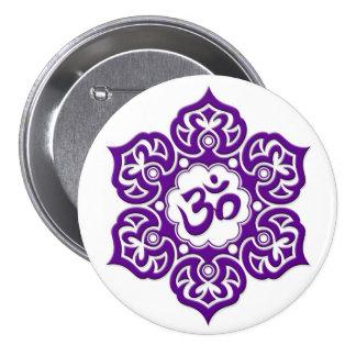 Purple Lotus Flower Om on White Pin