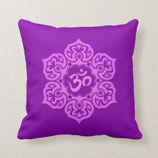 Purple Lotus Flower Om Pillows