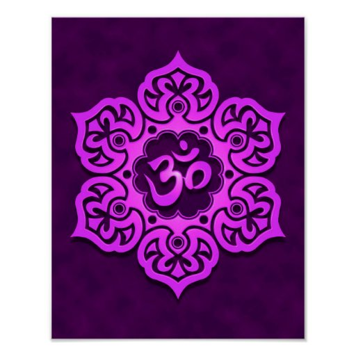 Purple Lotus Flower Om Print
