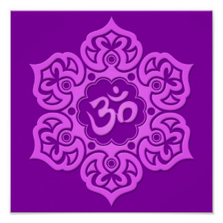 Purple Lotus Flower Om Poster