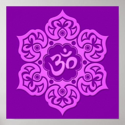 Purple Lotus Flower Om Posters
