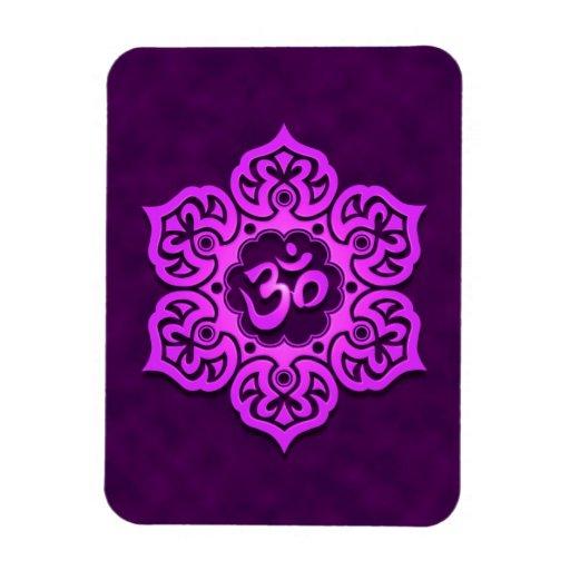 Purple Lotus Flower Om Rectangular Magnets