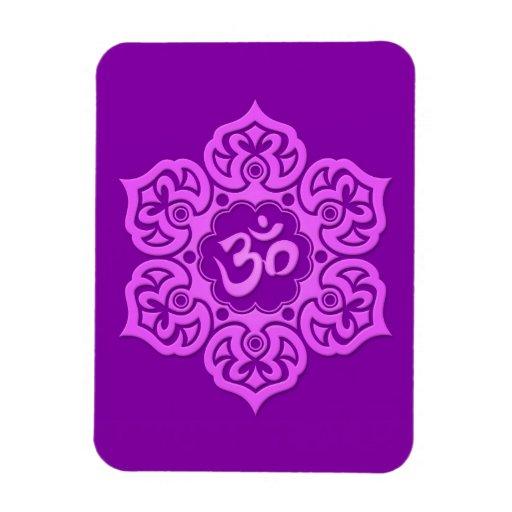 Purple Lotus Flower Om Flexible Magnet