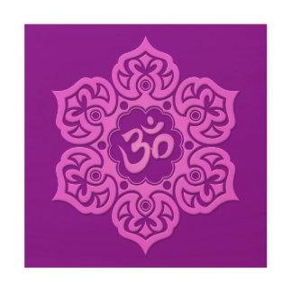 Purple Lotus Flower Om Wood Print