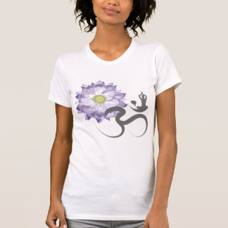 Purple Lotus Flower Yoga Om Calligraphy T-Shirt