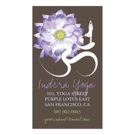 Purple Lotus Flower, Yoga Om Zen Business Card Business Card Template