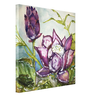 Purple Lotus Frog Watercolor Print Canvas 12x12